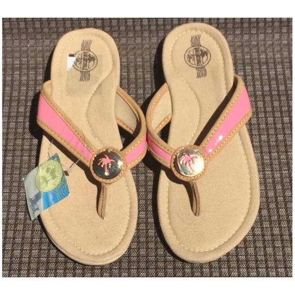b06e565103761 Margaritaville Pink Beige Flip Flops Leather 8 NWT
